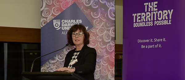 CDU Provost Professor Sue Carthew welcomes guests at the Adelaide event