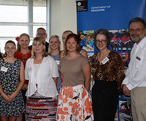 Top CDU education graduates celebrate with NT Government and CDU staff, including (from left): CDU Pro Vice-Chancellor Faculty of Law, Education, Business and Arts Professor Giselle Byrnes, and School of Education Head Professor Peter Kell