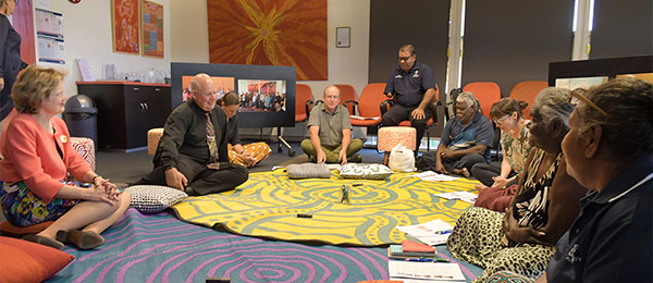 DFAT Secretary Frances Adamson and CDU Vice-Chancellor Scott Bowman participated in a special Yarning Circle at CDU hosted by the Northern Institute.