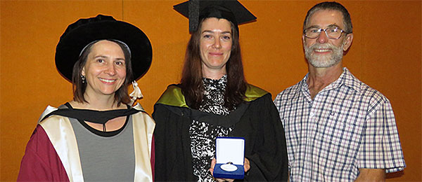 Dr Christine Schlesinger, Erin Westerhuis and Grant Allan at the graduation ceremony in Alice Springs