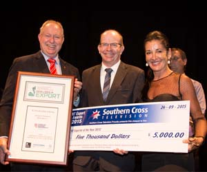 Minister Peter Styles, CDU Vice-Chancellor Professor Simon Maddocks and Nadine Jones from Southern Cross Television at the awards