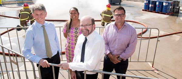 From left: ERGT Australia Managing Director Shane Addis, Minister for Workforce Training Selena Uibo, Vice-Chancellor Professor Simon Maddocks and Minister for Primary Industries and Resources Ken Vowles