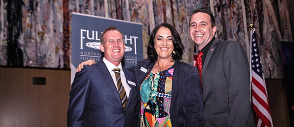 Territorian winners of Fulbright scholarships Dr Benedict Scambary (left), Dr Renee Bartolo and Professor James Smith. Image courtesy Australian-American Fulbright Commission