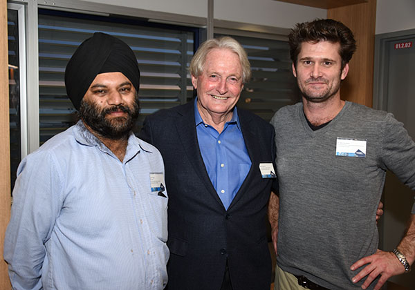 Sam Singh, Deputy Chancellor Richard Ryan AO, Dr Sam Goodwin