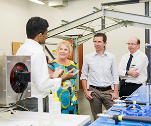 From left: Director of the North Australian Centre for Oil and Gas Professer Suresh Thennadil, the Honourable Natasha Griggs MP, Member for Solomon, the Honourable Senator Simon Birmingham, Assistant Minister, Education and Training and Vice-Chancellor Professor Simon Maddocks