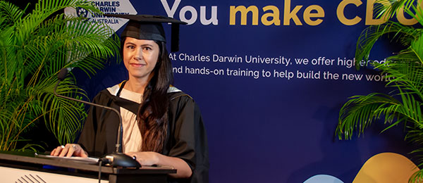 Master of Public Policy graduate Charmaine Woods delivering her speech for virtual graduation