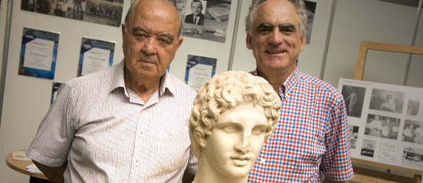 Evangelos Fylaktos and George Frazis with one of the marble sculptures