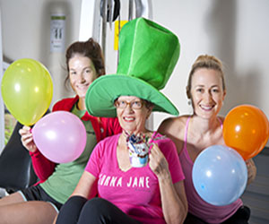 A Mad Hatters tea party is being held at Gym@CDU. From left: Jess Hempsall, Joan Mason and Gym@CDU manager Rosie Atkinson.