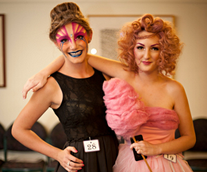Hair and make-up models Ashleigh Matthews (left) and Rochelle Witherdin at Imagination Unlimited. Photo: Hayley Richmond