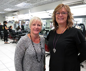 Hairdressing Team Leader Linda Manning and trainer Joanne Scott ... proud of hairdressing team's industry accolade