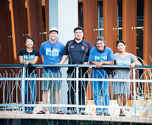 From left: Hokule'a crew members Hye Jung Kim and Kaniela Lyman-Mersereau with CDU's Dr Aue Te Ava and fellow crew members Keala Kai and Tamiko Fernelius