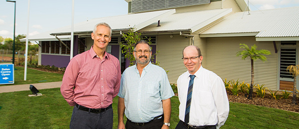 From left: Peet Group Regional Manager (WA, SA, NT) Paul Lakey, City of Palmerston Mayor Ian Abbott and CDU Vice-Chancellor Professor Simon Maddocks outside the new community centre at The Heights, Durack