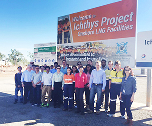 Twenty engineering students have toured the Ichthys LNG Project at Bladin Point