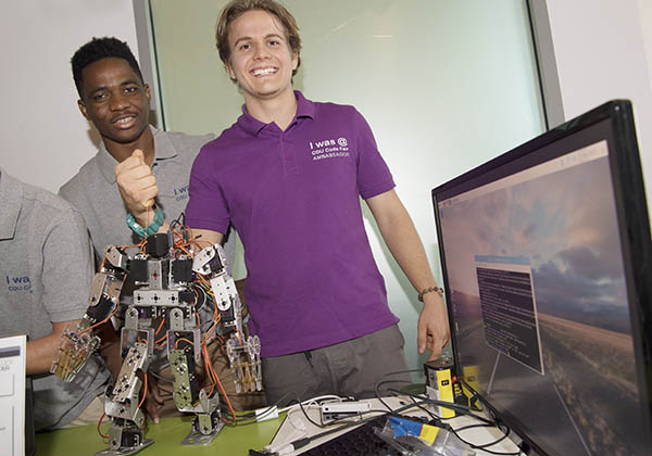 Joel Benesha and Augustine Thorbjornsen win best intermediate code for the robot they developed