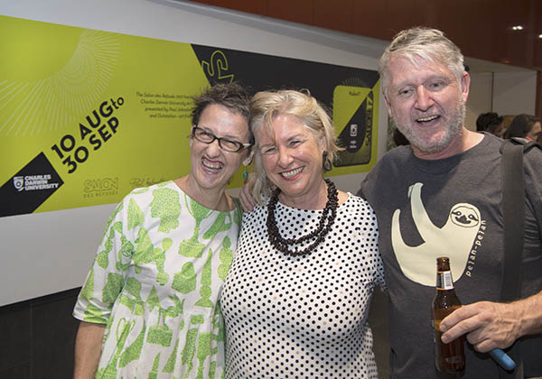 Patty Ring, CDU Art Gallery curator Joanna Barrkman and Pep Van Papenrecht celebrate the exhibition opening