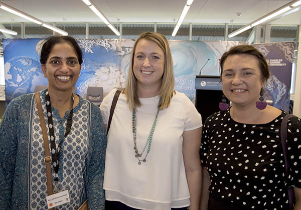 Sri Lanka Deputy High Commissioner Mrs Himalee Arunatilaka, with Ms Annie Ingram and Ms Shannon Toombs, who have both travelled and studied in Indonesia through the New Colombo Plan