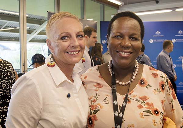 Ms Gabrielle Hill, of the College of Business and Law, and Uganda High Commissioner Professor Joyce Kikafunda