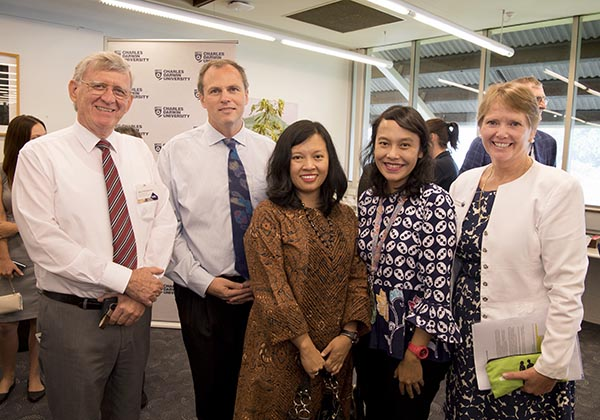 Associate Professor David Price and Dr Danial Kelly – both of the College of Business and Law, Ms Ryan Andriani and Ms Mila Tarigan – both of the Indonesian Consulate in Darwin, and Manager of International Projects and Operations Ms Sally-Anne Hodgetts