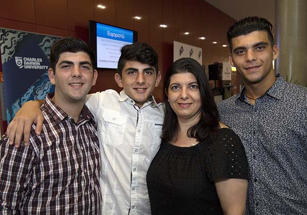From left: Brothers Haralambos and Savvas with mum Kaleopy Kypreos and Michael Gialamas