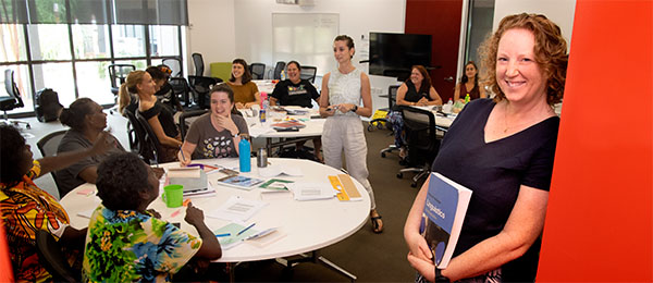 Cathy Bow with students from the recent Indigenous languages intensive course held at Casuarina campus