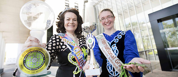 From left: World champion Michelle Spillane and Christine Collins did Australia proud at Irish dancing competitions