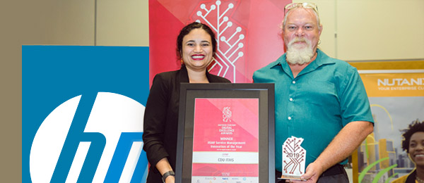 Corporate and Information Services Minister Lauren Moss congratulates Chief Information Officer Pat Gould