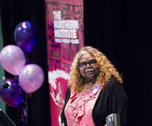 NT Minister for Women's Policy Bess Nungarrayi Price at the International Women's Day event at CDU