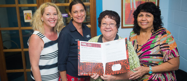 Northern Institute partnerships coordinator Katrina Britnell and director Professor Ruth Wallace, with DAIWS treasurer Georgia Opden Brouw and manager Regina Bennett