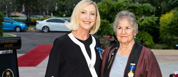 Janie Mason AM (right) with the NT Administrator, the Hon Vicki O'Halloran AM at the Australia Day Honours investiture.
