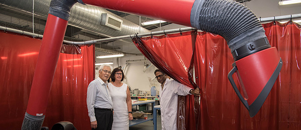 His Excellency Mr Sumio Kusaka (left) tours NACOG with Provost Professor Sue Carthew and Associate Professor in Engineering Krishnan Kannoorpatti