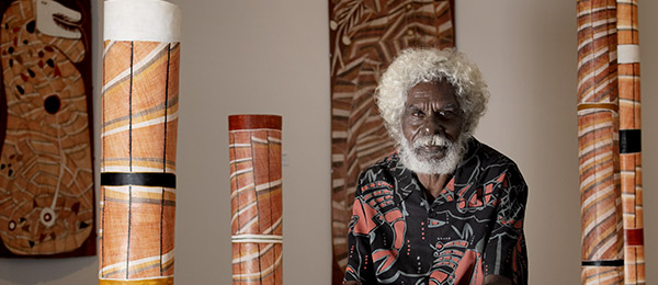 More than 50 of master bark painter John Mawurndjul's most celebrated artworks are showcased in the exhibition