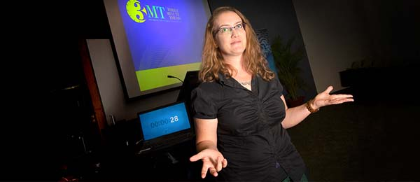 """Kat Tuite's winning 3MT presentation, titled """"Letting the BIG cat out the bag"""", faced stiff competition from five fellow CDU PhD candidates"""