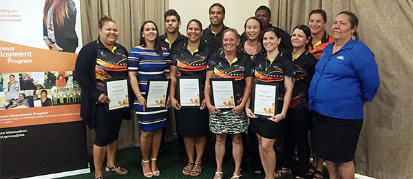Staff and students celebrate the completion of the first Katherine Indigenous Employment Program