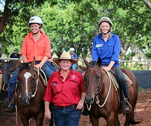 VET lecturer Kerrie Cokley (centre) with agriculture students Lucy Campbell and Meg Rasheed