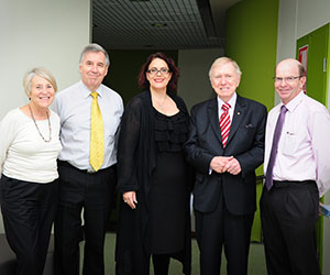The Hon Michael Kirby AC CMG is welcomed to CDU. From left: Deputy Vice-Chancellor Professor Sharon Bell, Professor Ned Aughterson, Head of School, School of Law, Felicity Gerry QC, Lecturer in Law, Mr Michael Kirby and Vice-Chancellor Professor Simon Maddocks