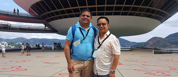 PhD candidate Kuntal Goswami (left) with Dr Benxiang Zeng at the conference in Brazil