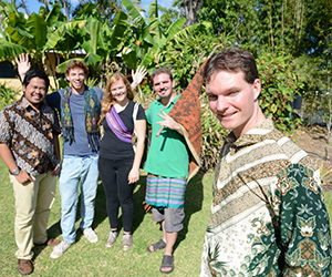 Ten Indonesian Studies students are excited to test their language skills on a trip to Kupang, Indonesia. From left: Indonesian Studies Assistant Lecturer Rachmat Hidayat with students, Sally Swinnen, James Turner and Brad Parker, and Indonesian Studies Lecturer Nathan Franklin