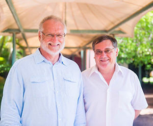 Professor of Philosophy at the Australian Catholic University Jānis (John) T. Ozoliņš (left), with CDU's Head of the School of Creative Arts and Humanities, Professor Brian Mooney