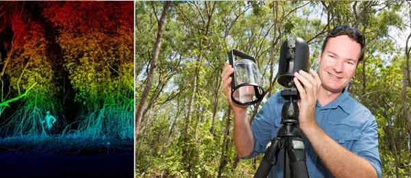 A 3D image of mangroves (left) is processed by the 1kg Leica BLK360 laser scanner, which Dr Shaun Levick uses to map field sites that can only be accessed on foot. Photo: Julianne Osborne