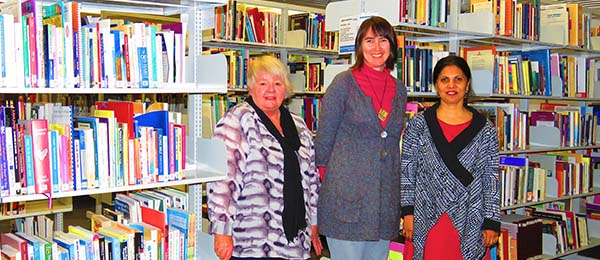 Librarians (from left) Leonie Moore-Smith, Alex Williams and Anu Seshakumaran in Alice Springs