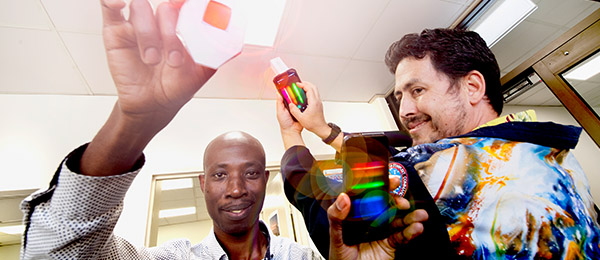 CDU Engineering Mathematics Lecturer Dr David Ompong and Essington Teacher Adam Turley with the mini-spectrometers which are part of the new home STEM kits