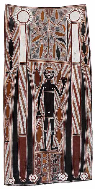 Binyinyuwuy, Banumbirr (Morning Star), natural pigments on bark, 137 x 71 cm, M041, © estate of the artist licensed by Aboriginal Artists Agency Ltd courtesy Milingimbi Art & Culture