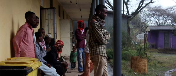 Patients wait outside a health centre in Ethiopia to enrol in the malaria study. Photo Lorenz Von Seidlein