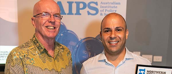 Associate Professor Mamoun Alazab (right) is named Scientist of the Year at the Young Tall Poppy Science Awards.