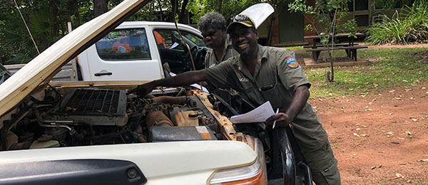 Indigenous students receiving ranger training on practical skills such as four-wheel driving