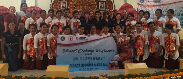 CDU staff and students with their counterparts in Bali as part of a unique cross-cultural placement