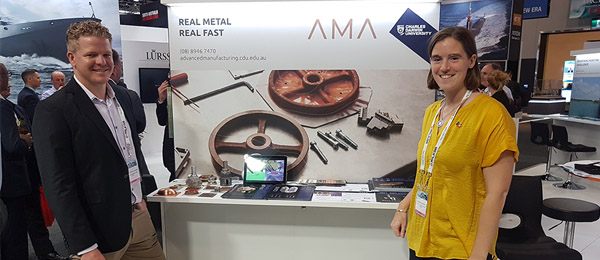 AMA Mechanical Engineer, Micah Thorbjornsen and AMA Director, CDU's Dr Rebecca Murray promoting 3D printing technology to the region's navies at Pacific 2019