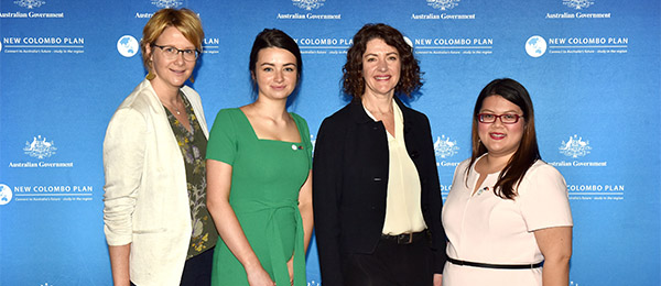 From left: Acting Team Leader Learning Abroad Maricki Moeller-Levick, Sidney Goram-Aitken, DFAT Deputy Secratary Clare Walsh and Zarah Ramoso