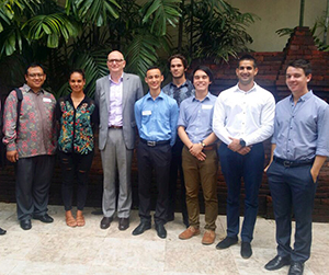 New Colombo Plan ambassadors from CDU with University Indonesia lecturer Dr Heru Susetyo (second from left) and the Australian Ambassador to Indonesia, Paul Grigson (fourth from left)
