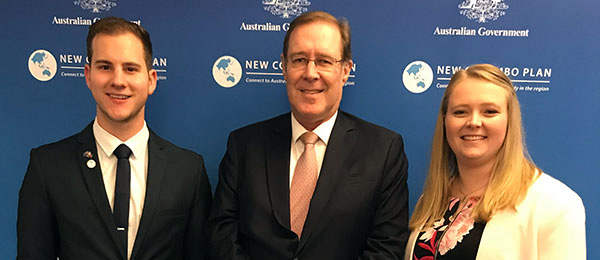 Deputy Vice-Chancellor, Global Strategy and Advancement Andrew Everett (centre) with New Colombo Plan Scholarship recipients Joel Kennaway and Jessica Kelly